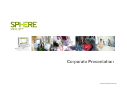 Sphere Medical Corporate Presentation January 2015