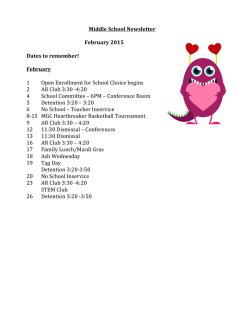 Middle School Newsletter February 2015 Dates to remember!