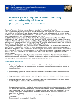 Masters (MSc) Degree in Laser Dentistry at the University of Genoa