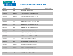 Upcoming Louisiana Foreclosure Sales