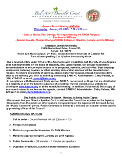 1 General Board Meeting AGENDA Wednesday January 28, 2015 7