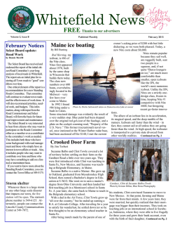 Click here for the February Edition of the Whitefield News Letter