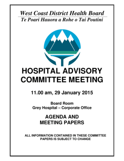 Hospital Advisory Committee Meeting Papers for 29 January 2015
