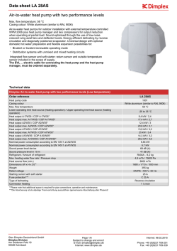 Data sheet Air-to-water heat pump with two performance levels: LA