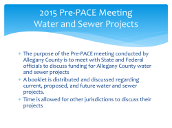 2015 Pre-PACE Meeting Water and Sewer Projects