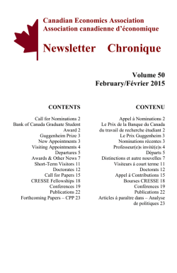 Newsletter Chronique - canadian economics association