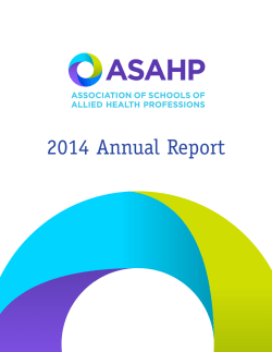2014 Annual Report - The Association of Schools of Allied Health