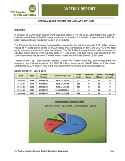 Weekly Market Report for the Week Ended 30-01-2015