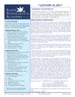 January 30 Newsletter - St. Scholastica Academy