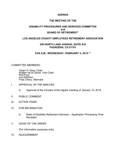 AGENDA FOR DISABILITY COMMITTEE MEETING