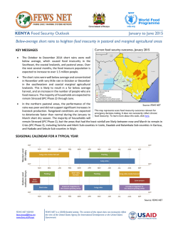 KENYA Food Security Outlook January to June 2015 Below