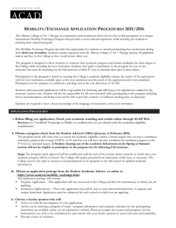 ACAD Outgoing Mobility Package Application Form