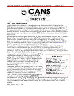 CANS January 2015 Newsletter - Council of State Neurosurgical