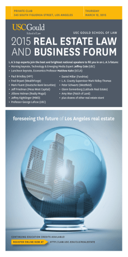 2015 REAL ESTATE LAW AND BUSINESS FORUM