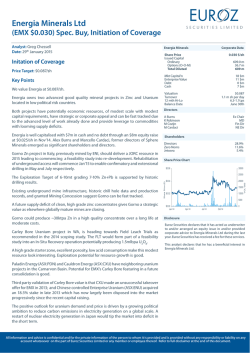 (EMX $0.030) Spec. Buy, Initiation of Coverage