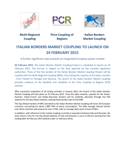 Italian Borders Market Coupling to launch on 24 february 2015