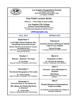 Free Public Lecture Series - Los Angeles Geographical Society