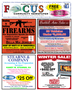 1/30/15 Edition - Focus Community Newspaper Brodheadsville, PA