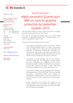 Quarterly Activities Report