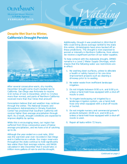 The February Edition of Our Watching Water Newsletter is Now