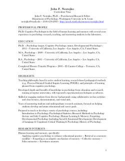 Curriculum Vitae - Department of Psychology
