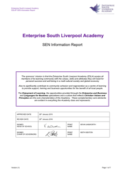 sen report - Enterprise South Liverpool Academy