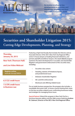 Securities and Shareholder Litigation 2015: Cutting