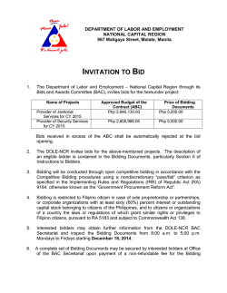 Invitation to Bid for Provider of Janitorial and Security - DOLE-NCR