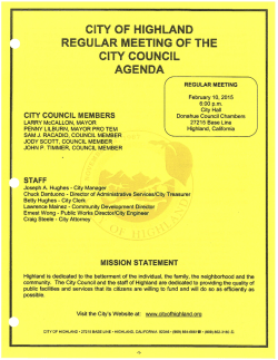 Condensed Agenda - City of Highland