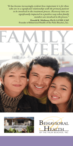 FAMILY WEEK - Behavioral Health of the Palm Beaches
