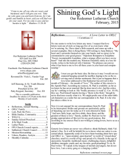 monthly newsletter - Our Redeemer Lutheran Church