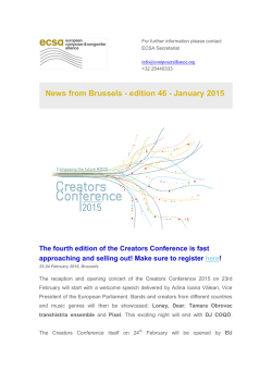 News from Brussels - edition 46 - January 2015
