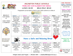 Food Services: Elementary School Lunch Menu