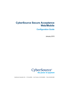 CyberSource Secure Acceptance Web/Mobile Configuration Guide