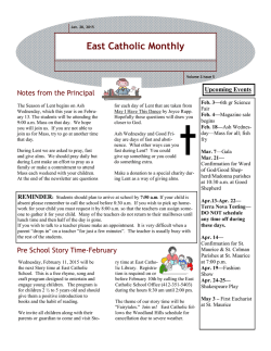 Current Newsletter - East Catholic School