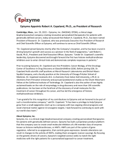Epizyme Appoints Robert A. Copeland, Ph.D., as President of