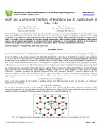 Study and Analysis on Synthesis of Graphene and its Applications in