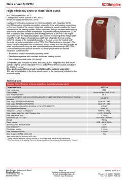 Data sheet High-efficiency brine-to-water heat pump: SI