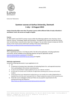 Summer courses at Aarhus University, Denmark 1 July – 14 August