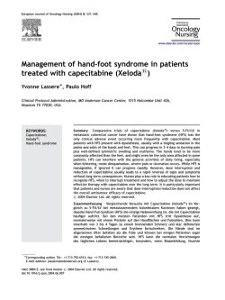 Management of hand-foot syndrome in patients treated