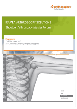 IRAMEA ARTHROSCOPY SOLUTIONS Shoulder Arthroscopy Master Forum