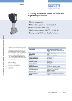 2/2-way Solenoid Valve for low and high temperatures