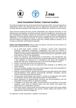 Joint Consultant Roster: Internal Auditor