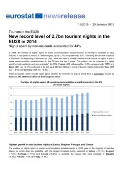 New record level of 2.7bn tourism nights in the EU28 in 2014