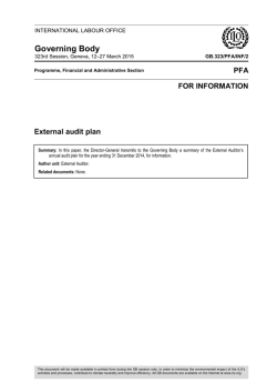 External audit plan - International Labour Organization