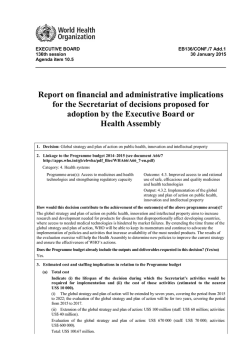 Report on financial and administrative implications for the