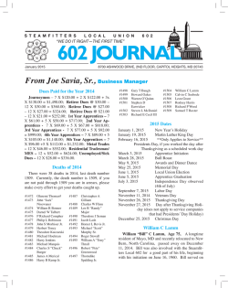 602 JOURNAL - Steamfitters 602