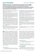 Platelet Transfusion - Annals of Internal Medicine