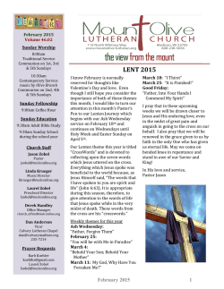February 2015 - Mount Olive Lutheran Church