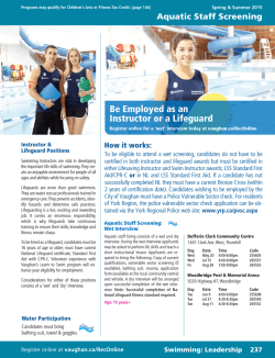 Swimming Leadership_Employment